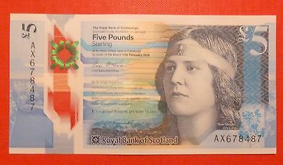 Royal Bank of Scotland £5 Five Pound Note (Plastic Polymer) 2016 Uncirculated.