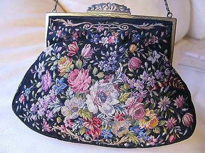 Antique Micro Floral Petit Point Purse GHERARDINI ITALY FIRENZE FLORENCE