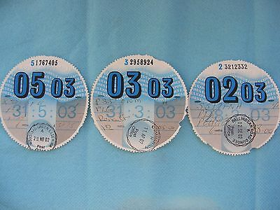 3 Tax Discs, for 2003. See all photos
