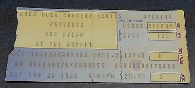 Bob Dylan at the Summit August 26, 1989 Coca Cola Concert Series Ticket Stub