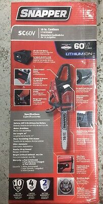 Snapper SC60V 60V Chainsaw Includes 2Ah Battery and Charger - Factory Sealed NEW