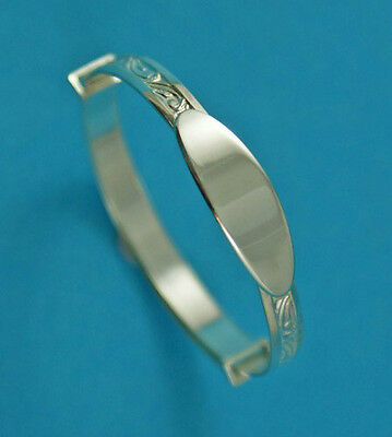 Baby Silver Christening Bangle Bracelet Naming Day Free Engraving Boy Girl