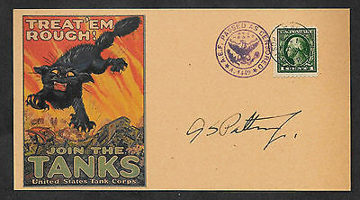 George S Patton Tank Corps Autograph Reprint On Orig. Period 1918 3X6 Card 106