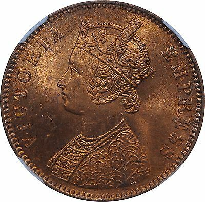 British India 1880(C) One Quarter Anna MS64 Red NGC