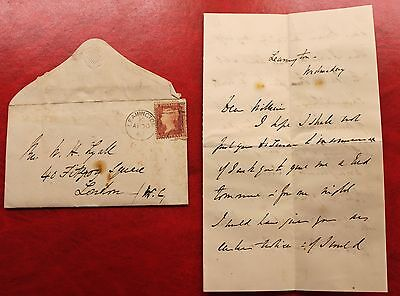1867 victorian envelope penny red leamington to London WC with letter