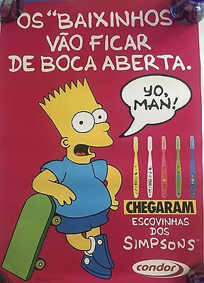 Vintage Bart Simpsons Poster, Condor Toothbrushes, Brazil, 1992, Rare, Mint