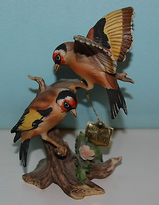 Stunning Collectible Large Maruri Bird Tableau - Pair Of Goldfinches - Perfect