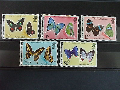 BELIZE - 1974 Butterflies Issue Issue Part Set of 5vs MH Cat 12.50 (1M)