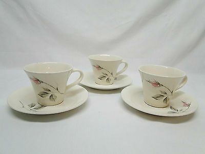 Knowles China DAWN ROSE by Kalla 3 Cups and Saucers