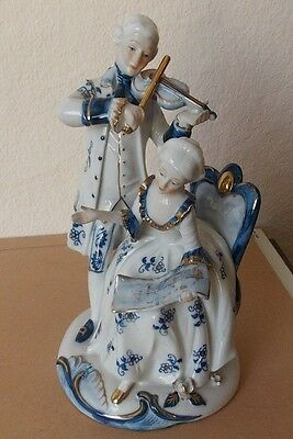 Porcelain Figurine Gentleman Playing Violin Lady Reading Music
