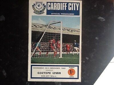A 1969 European cup winners cup match programme Cardiff City v goztepe izmir