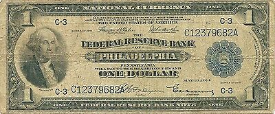 1918 $1 Federal Reserve Bank Note ~ Philadelphia Spread Eagle ~ Priced To Sell