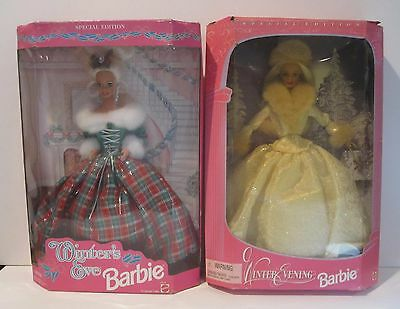 Barbie 1994 Winters Eve 1998 Winters Evening Holiday Dolls Lot of 2 Vintage