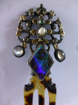 early ? ANTIQUE HAIR CLIP HAIR COMB SOLID SILVER SET OPAL MOONSTONE PEARL ETC