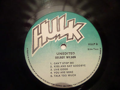 Delroy Wilson -Unedited Rare Hulk Records Lp- Rare Roots/lovers Vg+ Cond