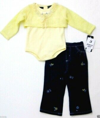 Baby Clothes Girl Body Suit Denim Outfit Set Long Sleeve Infant Size 18m 24m Nwt
