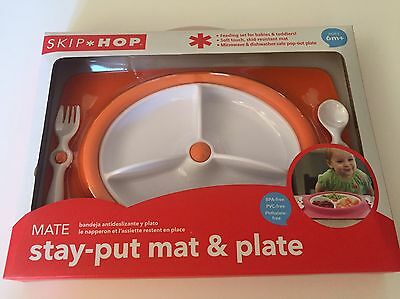Skip Hop Stay Put Mat And Plate Orange Kids Baby New