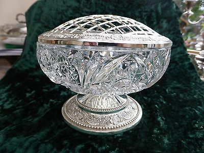 Large Cut Glass & Silver Plated Rose Bowl With Beaded Grille & Base 270916031/34