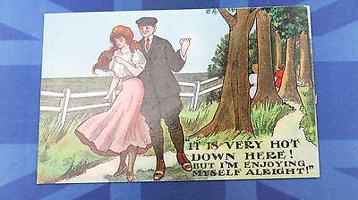 Vintage FS Fred Stone ? Comic Postcard 1900s Lovers In Wood Theme