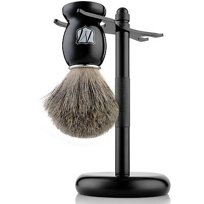 Miusco 100% Pure Badger Hair Shaving Brush and Luxury Stand Shaving Set Matte...