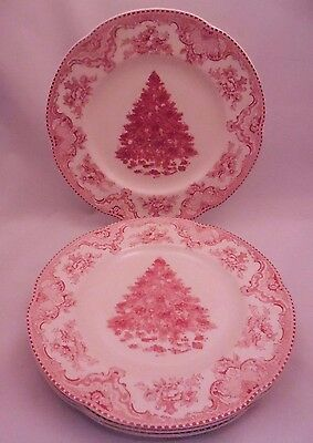 Johnson Brothers OLD BRITAIN CASTLES Christmas Tree PINK Dinner 10.5 Plate Set 4