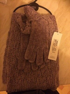 M&s New Lavender Scarf And Glove Set