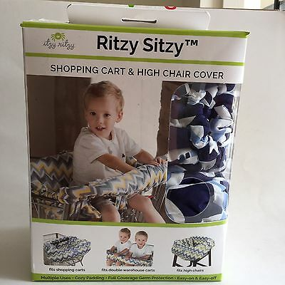 Itzy Ritzy Sitzy Shopping Cart Single Double High Chair Cover Social Circle Blue