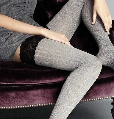 Size XS/S GRAY Italian Thigh Highs Stay up stockings Textured Lace Top Costina
