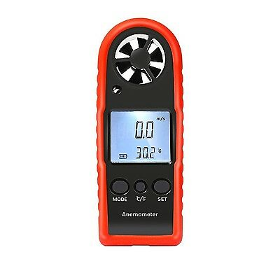 Proster Digital Anemometer Handheld LCD Wind Speed Gauge with Thermometer Air...