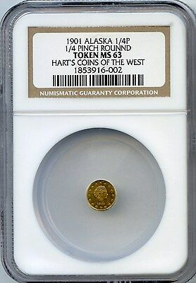 1901 Gold Alaska 1/4 Pinch RD Hart's Coins of the West / NGC MS-63