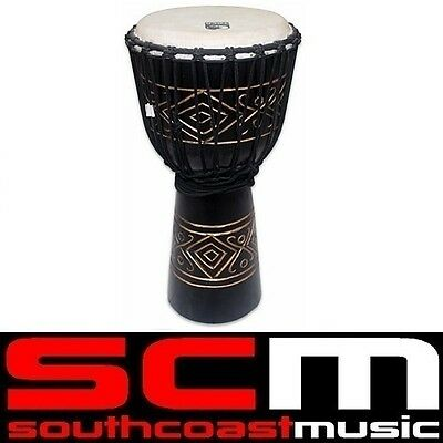 Toca 12 inch Wood Djembe Hand Drum Carved Diamond Pattern TOCTKSDJLD Brand New