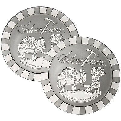 SilverTowne Stackables Trademark Prospector 5oz .999 Silver Medallion (2pc)