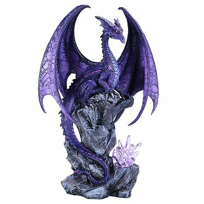 """Large Hoartfrost Winged Purple Dragon with LED Light Purple Crystal Rock 18""""h"""