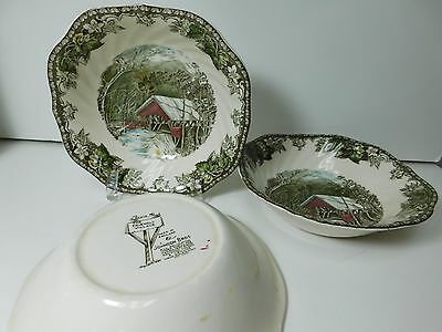 Lot of 3 Vintage Johnson Brothers Friendly Village Cereal Bowls