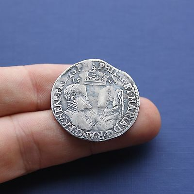 Hammered Silver Coin Philip & Mary Shilling Dated 1554 AD