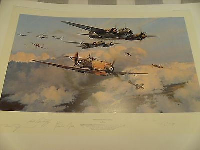 `ASSAULT ON THE CAPITAL`print by ROBERT TAYLOR  signed by 5 LUFTWAFFE