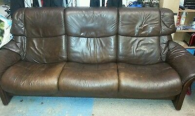 Stressless brown leather three seater sofa