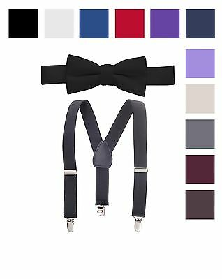 Suspender & Bow Tie Set for Kids, Boys, and Baby Sturdy Polished Silver Clips,