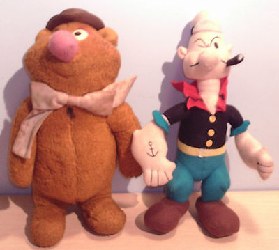 FOZZIE BEAR Muppets - Fisher Price & POPEYE Soft Toys x2 OLD worn condition