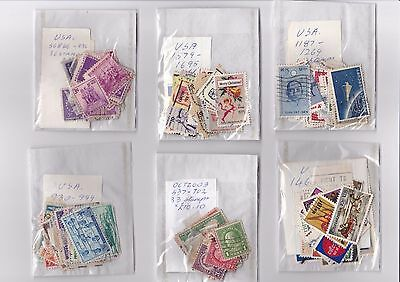 USA off paper - 500+ used stamps - in 15 packets sorted by cat number  16/196