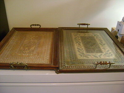 Two Antique Frisian Chip Carved Wooden Serving Trays