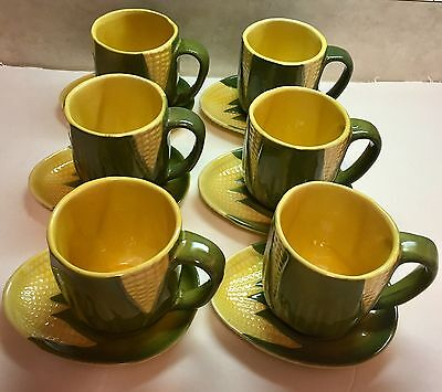 Vintage SHAWNEE Yellow Green CORN KING 6 Cups + Saucers EXCELLENT #69 & #91