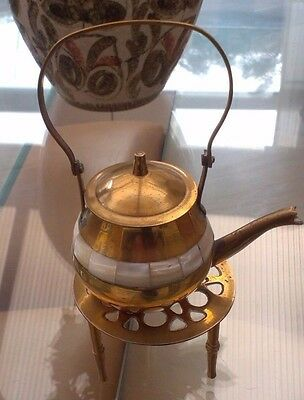 Vintage Style Small Brass Kettle And Trivet