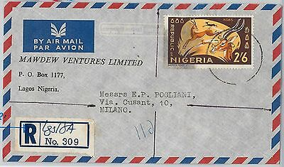 59542 -   NIGERIA - POSTAL HISTORY: REGISTERED  COVER to ITALY 1966 - ANIMALS