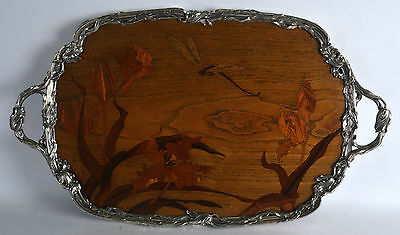 Absoluely Stunning Huge Art Nouveau Silver & Marquetry Tray by Louis Majorelle