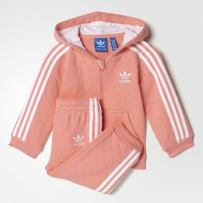 Adidas Infant's Quilted Hooded Pink Track Suit s95955