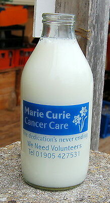 "milk bottle :  ""MARIE CURIE"" cancer care Tewkesbury Glos. : dairy"