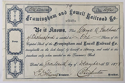 1878 Framingham And Lowell Railroad Company Stock Certificate Document Signed Ma