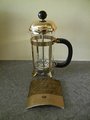 Boots 3-Cup Individual Small Glass Gold Cafetiere ** UNUSED & MINT **