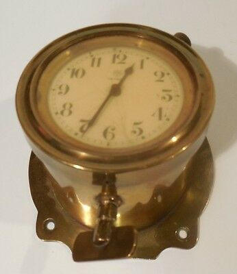 ORIGINAL EARLY 1900's JUNGHANS BRASS CAR / BOAT CLOCK ANGLED CASE RUNS BRASS AGE
